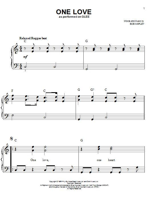 Partition piano One Love de Glee Cast - Piano Facile