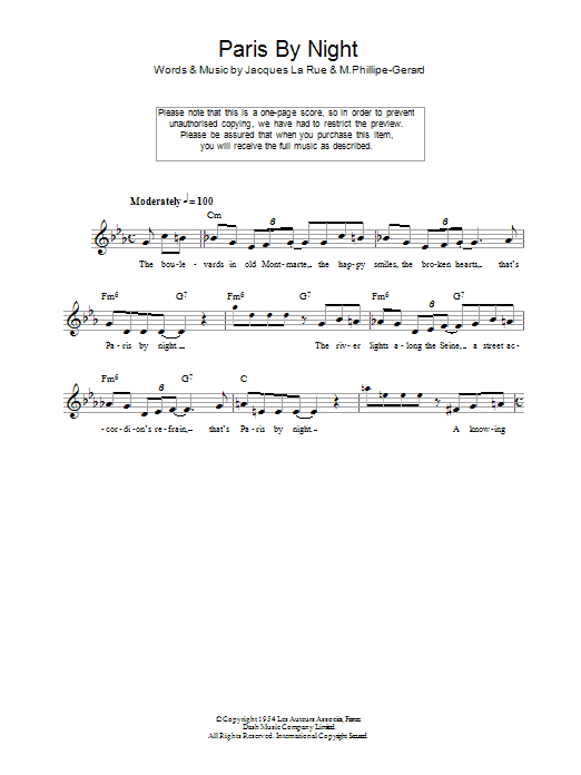 Paris By Night sheet music for voice and other instruments (fake book) by M.Phillipe-Gerard
