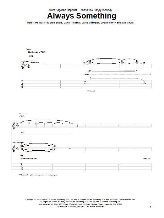 Tablature guitare Always Something de Cage The Elephant - Tablature Guitare