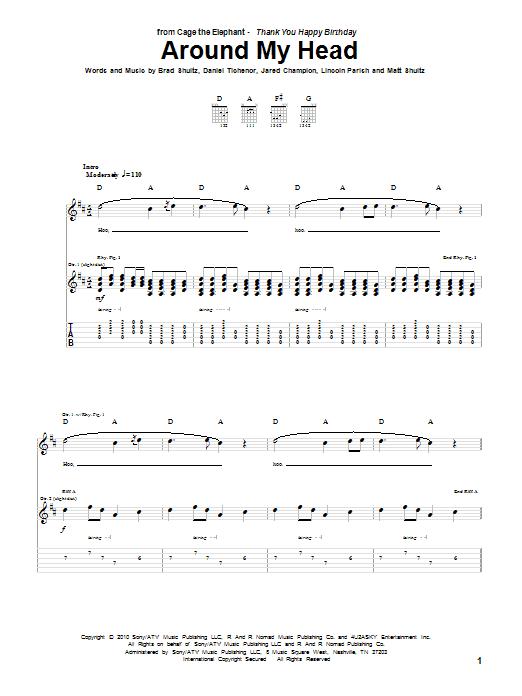 Tablature guitare Around My Head de Cage The Elephant - Tablature Guitare