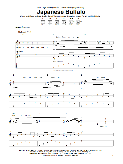 Tablature guitare Japanese Buffalo de Cage The Elephant - Tablature Guitare