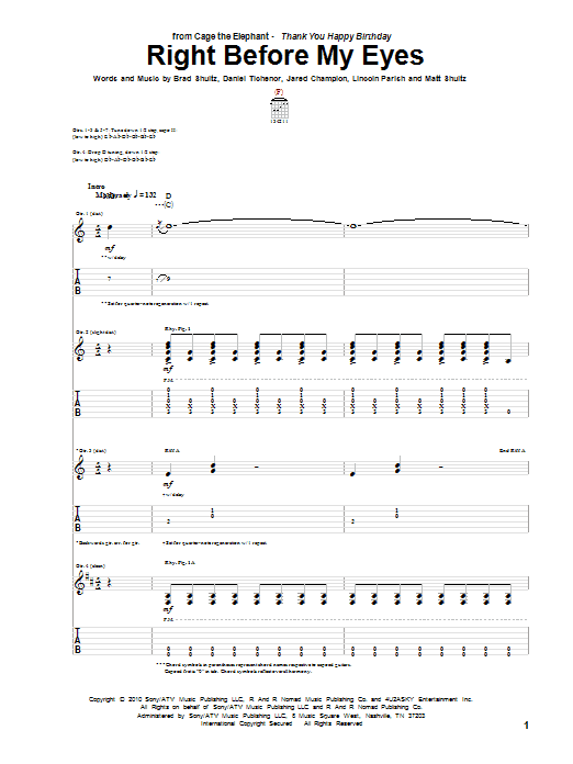 Tablature guitare Right Before My Eyes de Cage The Elephant - Tablature Guitare