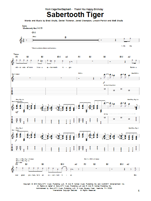 Sabertooth Tiger sheet music for guitar solo (tablature) by Matt Shultz