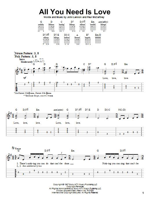 Tablature guitare All You Need Is Love de The Beatles - Tablature guitare facile