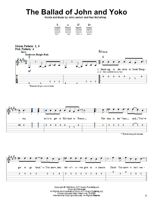Tablature guitare The Ballad Of John And Yoko de The Beatles - Tablature guitare facile