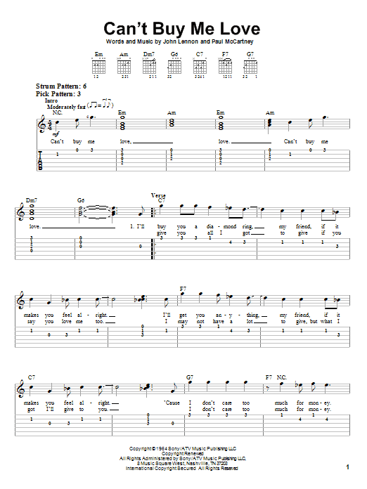 Tablature guitare Can't Buy Me Love de The Beatles - Tablature guitare facile