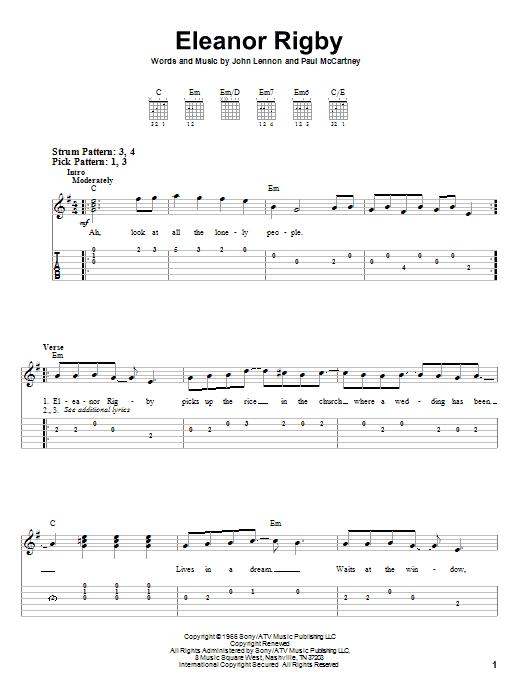 Tablature guitare Eleanor Rigby de The Beatles - Tablature guitare facile