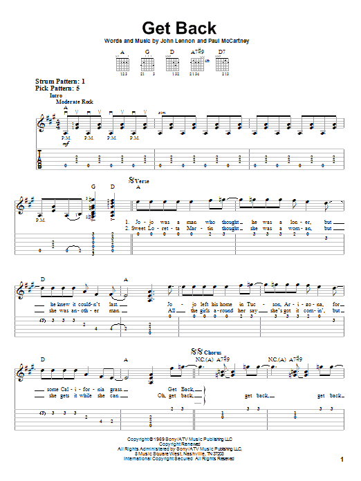 Tablature guitare Get Back de The Beatles - Tablature guitare facile