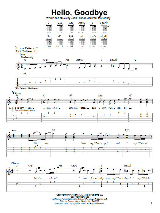 Tablature guitare Hello, Goodbye de The Beatles - Tablature guitare facile