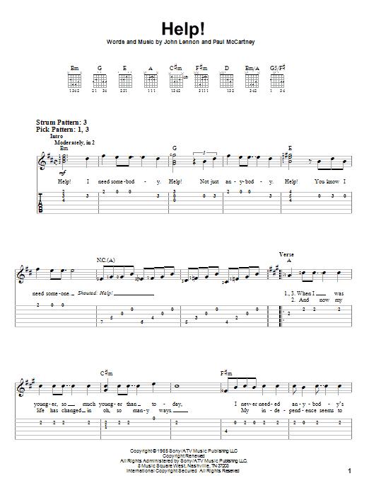 Tablature guitare Help! de The Beatles - Tablature guitare facile