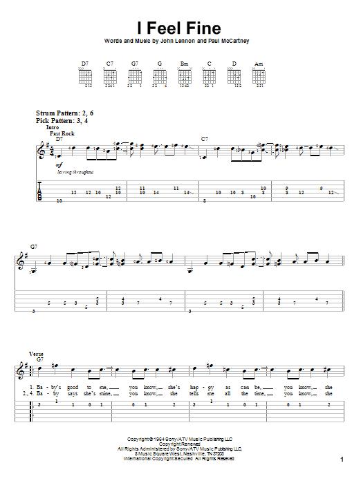 Tablature guitare I Feel Fine de The Beatles - Tablature guitare facile