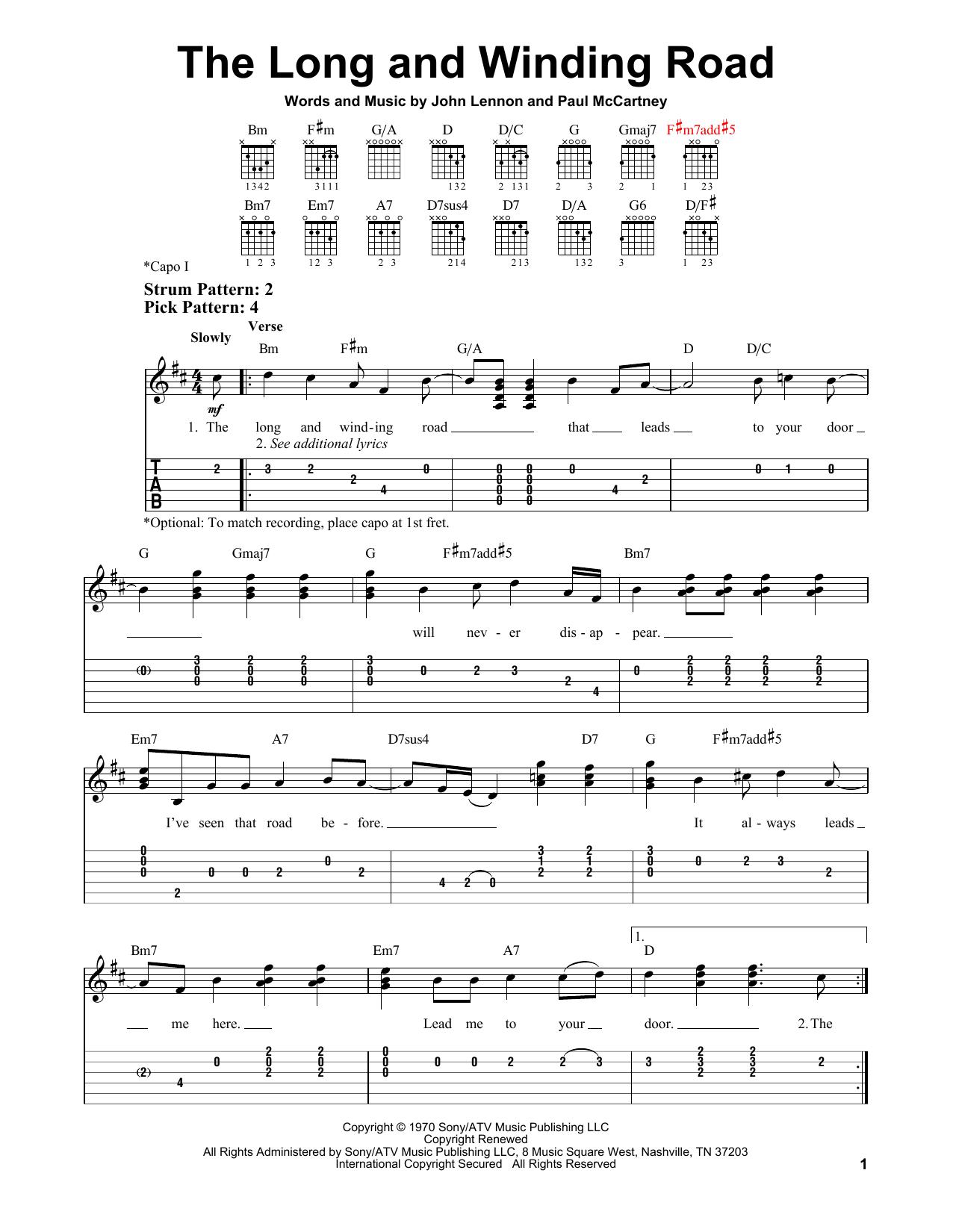 Tablature guitare The Long And Winding Road de The Beatles - Tablature guitare facile
