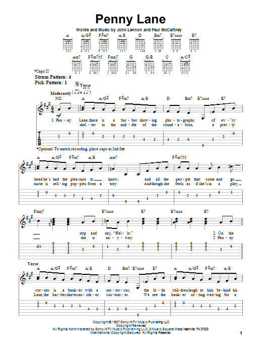 Tablature guitare Penny Lane de The Beatles - Tablature guitare facile