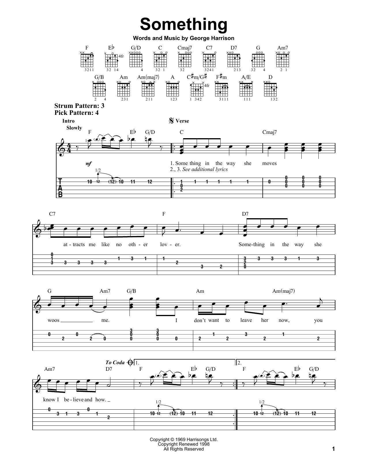 Tablature guitare Something de The Beatles - Tablature guitare facile