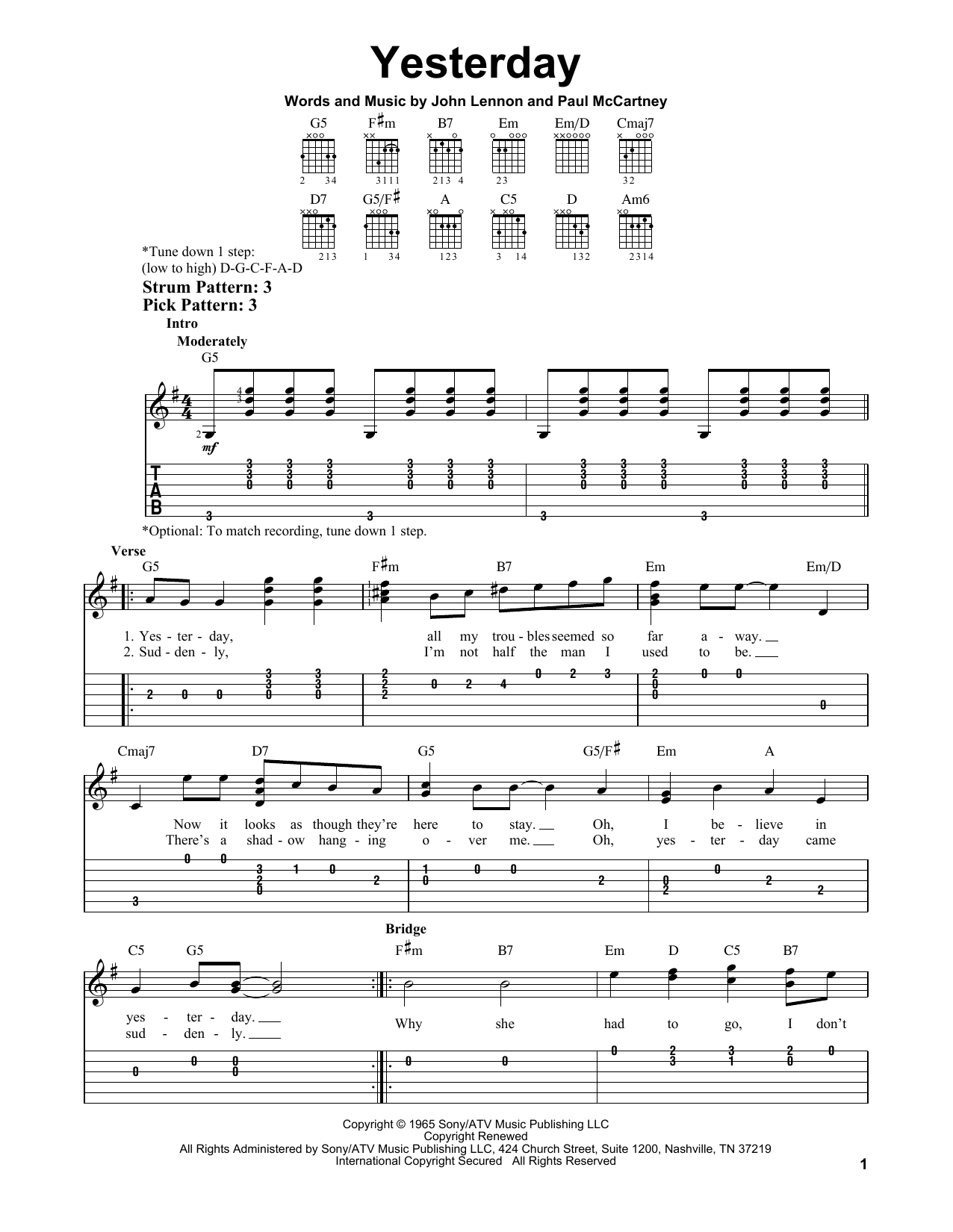 Yesterday sheet music by The Beatles (Easy Guitar Tab u2013 81964)