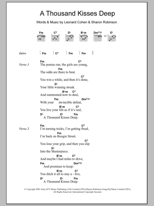 A Thousand Kisses Deep sheet music for guitar solo (chords, lyrics, melody) by Sharon Robinson