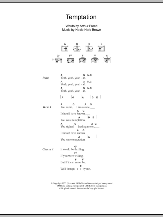 Temptation sheet music for guitar solo (chords, lyrics, melody) by Nacio Herb Brown