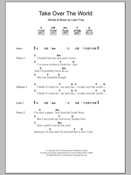 Take Over The World sheet music for guitar solo (chords, lyrics, melody) by Liam Fray