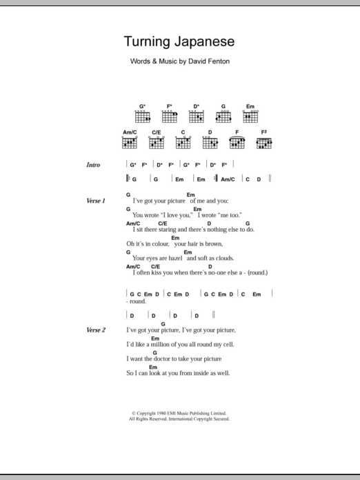 Turning Japanese sheet music for guitar solo (chords, lyrics, melody) by David Fenton