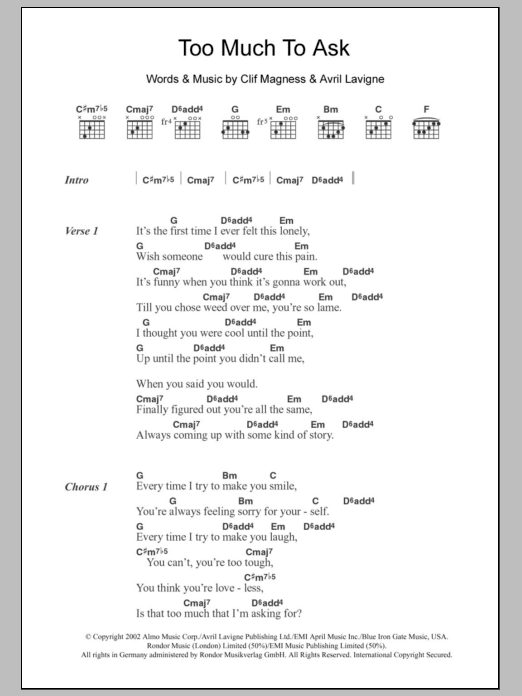 Chord Gitar Too Much To Ask