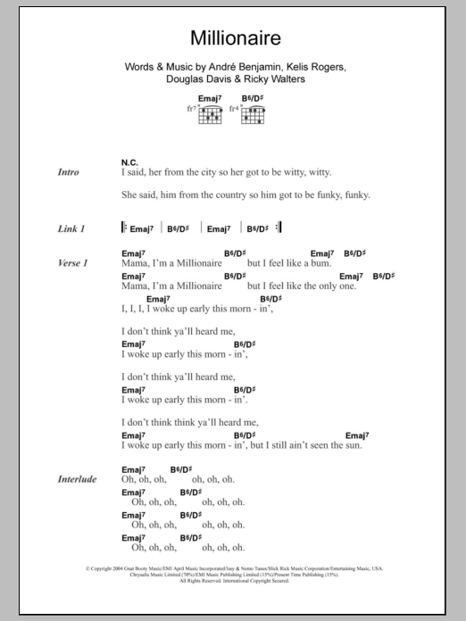 Millionaire sheet music for guitar solo (chords, lyrics, melody) by Ricky Walters