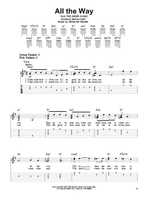 Tablature guitare All The Way de Frank Sinatra - Tablature guitare facile