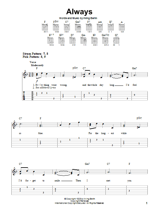 Tablature guitare Always de Irving Berlin - Tablature guitare facile