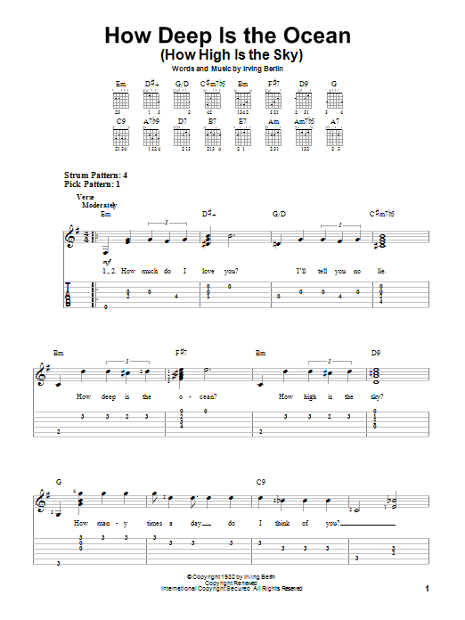 Tablature guitare How Deep Is The Ocean (How High Is The Sky) de Irving Berlin - Tablature guitare facile