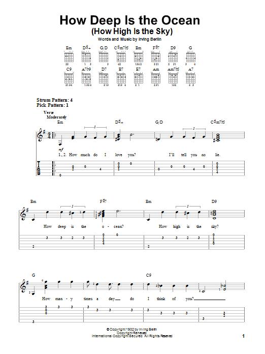 Tablature guitare How Deep Is The Ocean (How High Is The Sky) de Irving Berlin - Tablature guitare facile