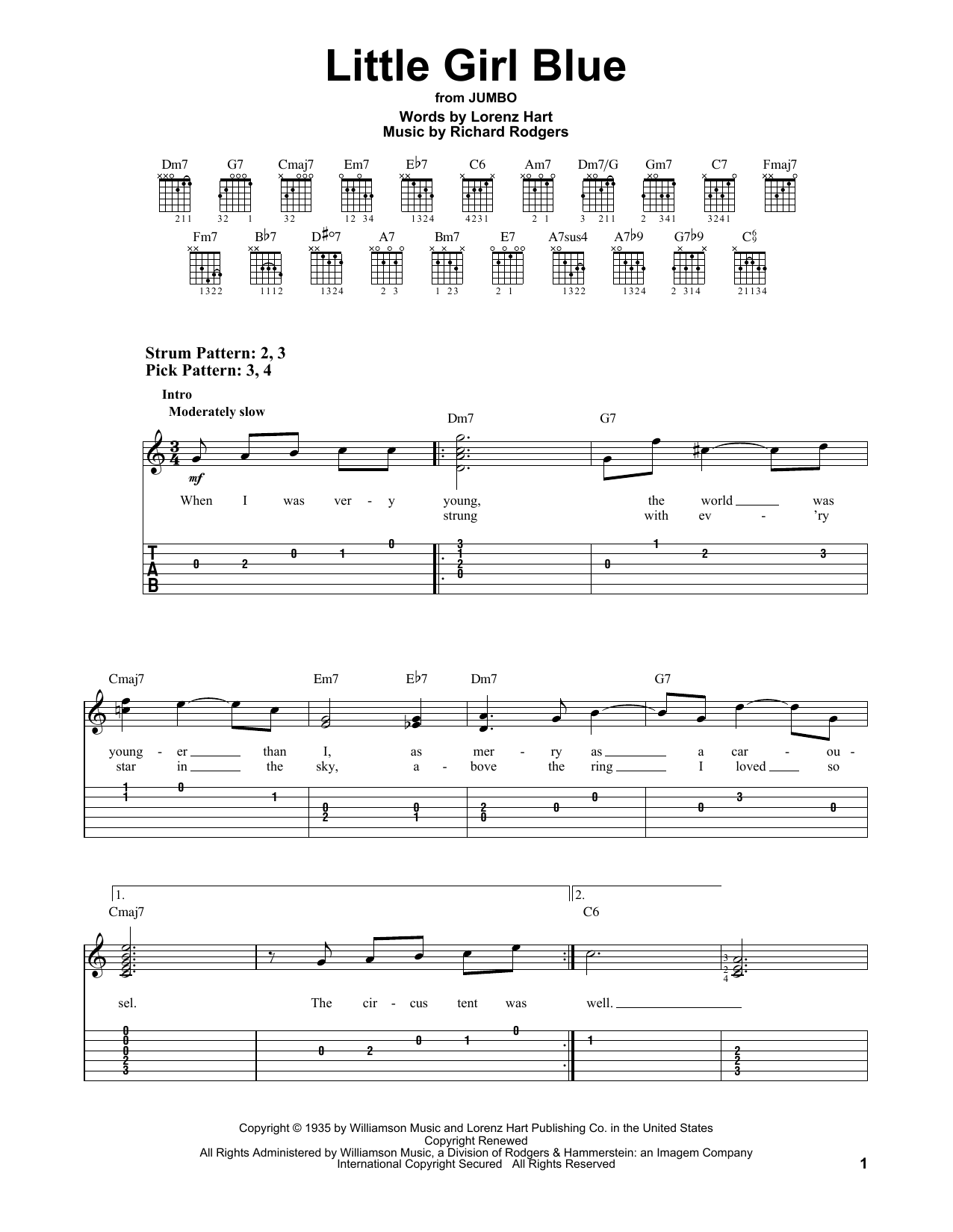 Tablature guitare Little Girl Blue de Rodgers & Hart - Tablature guitare facile