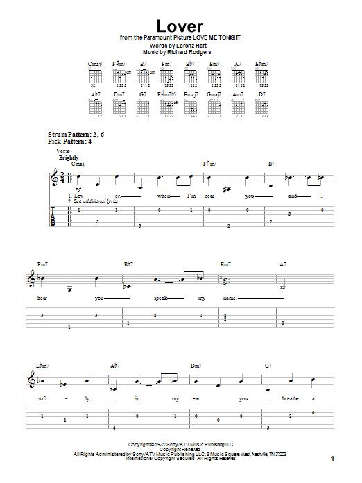 Tablature guitare Lover de Ella Fitzgerald - Tablature guitare facile