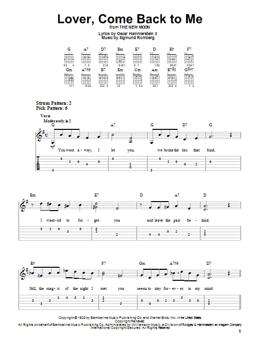 Tablature guitare Lover, Come Back To Me de Sigmund Romberg - Tablature guitare facile