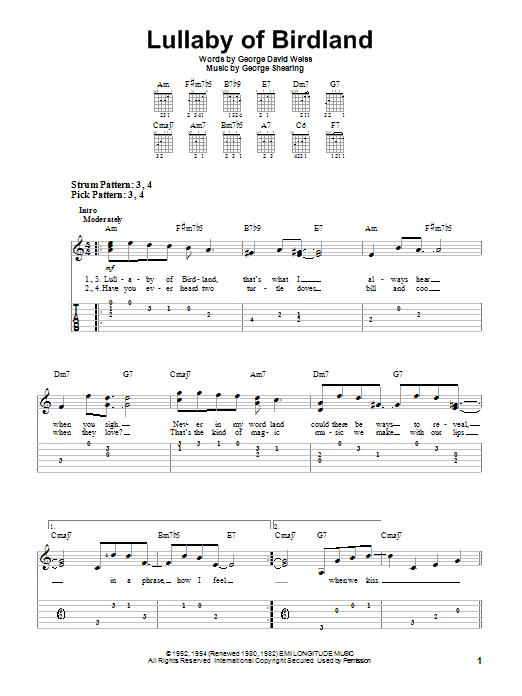 Tablature guitare Lullaby Of Birdland de George Shearing - Tablature guitare facile