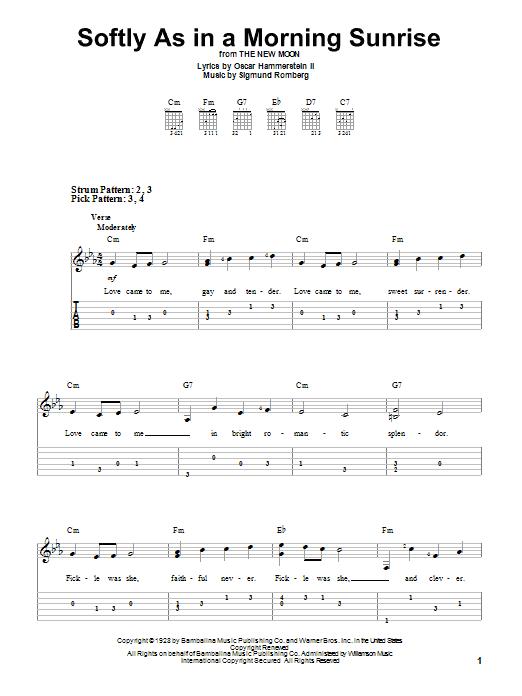 Tablature guitare Softly As In A Morning Sunrise de Sigmund Romberg - Tablature guitare facile