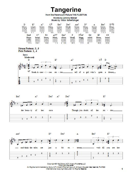 Tablature guitare Tangerine de Johnny Mercer - Tablature guitare facile