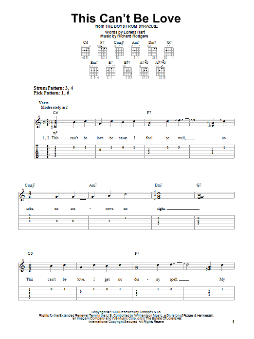 Tablature guitare This Can't Be Love de Rodgers & Hart - Tablature guitare facile