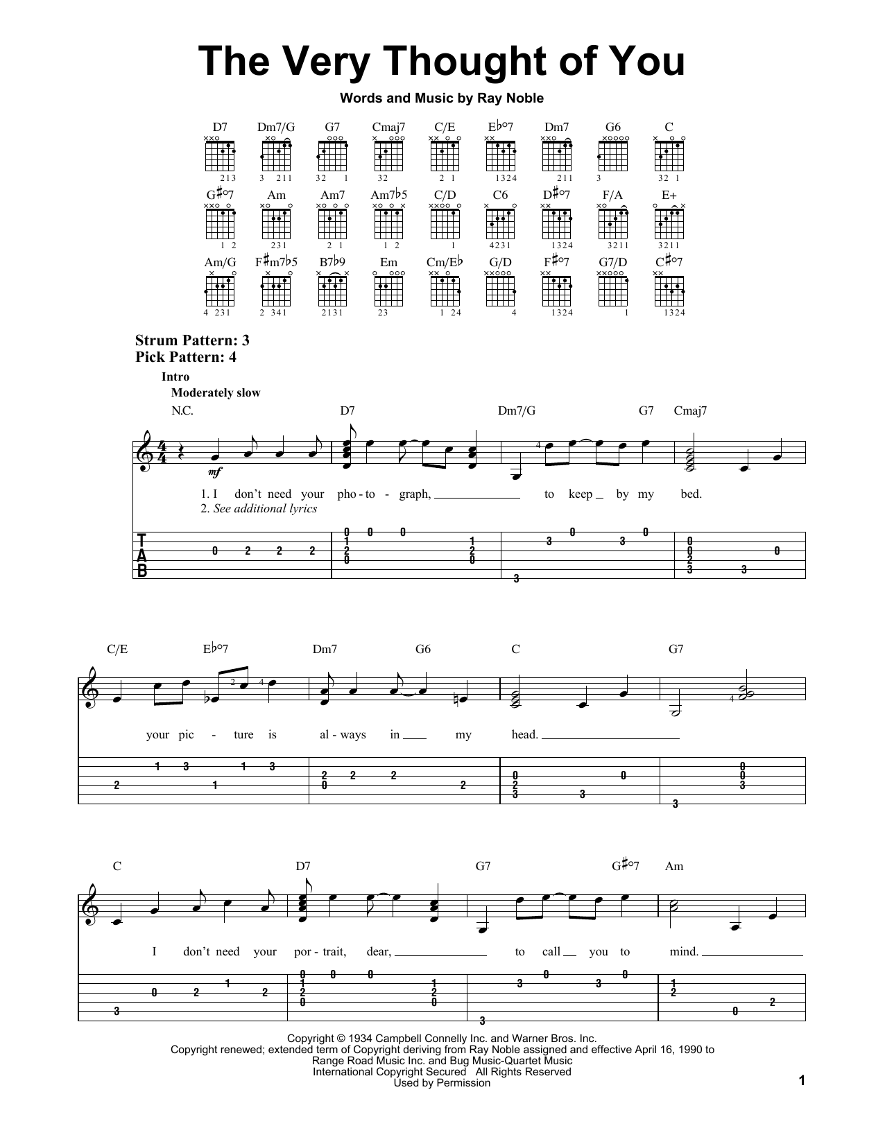 Tablature guitare The Very Thought Of You de Ray Noble - Tablature guitare facile