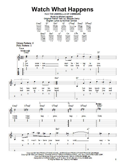 Tablature guitare Watch What Happens de Michel LeGrand - Tablature guitare facile