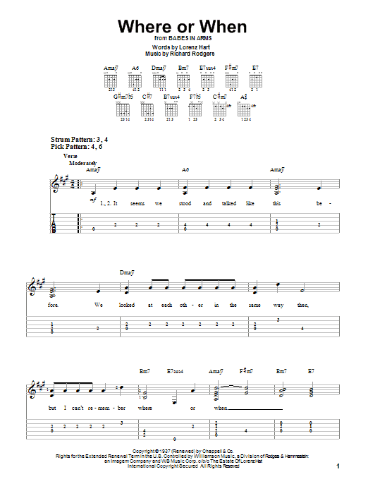 Tablature guitare Where Or When de Rodgers & Hart - Tablature guitare facile