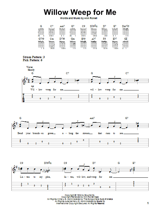 Tablature guitare Willow Weep For Me de Chad & Jeremy - Tablature guitare facile