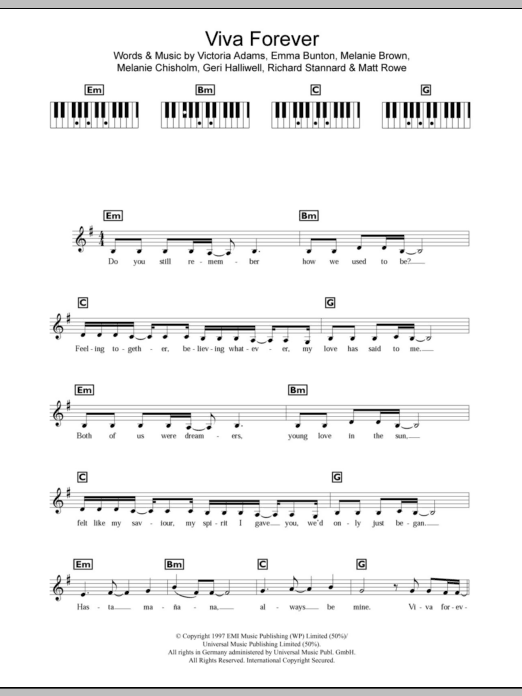 Viva Forever sheet music for piano solo (chords, lyrics, melody) by Victoria Adams