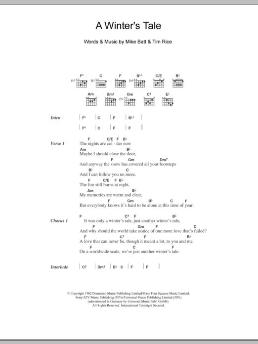 A Winter's Tale sheet music for guitar solo (chords, lyrics, melody) by Tim Rice