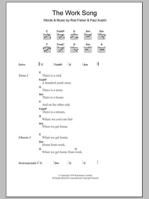 The Work Song sheet music for guitar solo (chords, lyrics, melody) by Rob Fisher
