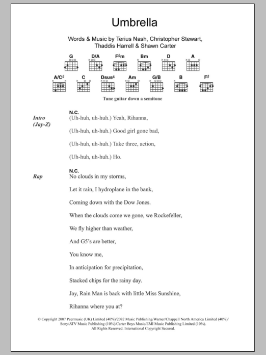 Umbrella sheet music for guitar solo (chords, lyrics, melody) by Thaddis Harrell