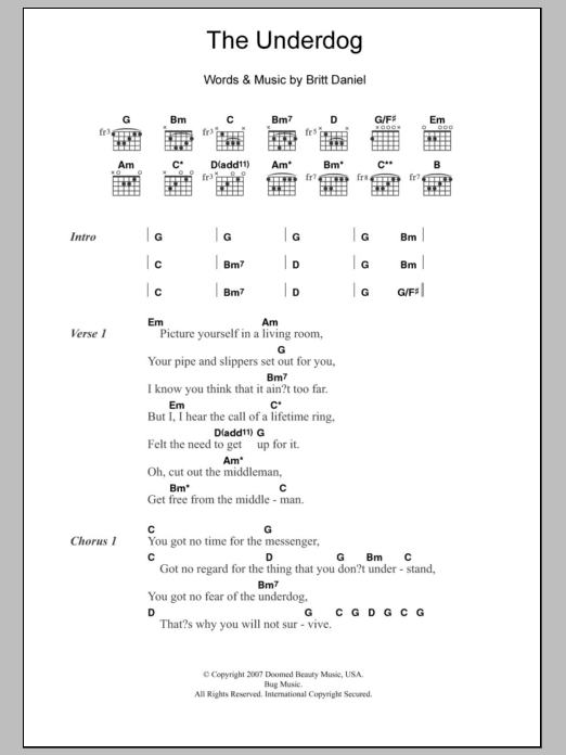 The Underdog sheet music for guitar solo (chords, lyrics, melody) by Britt Daniel