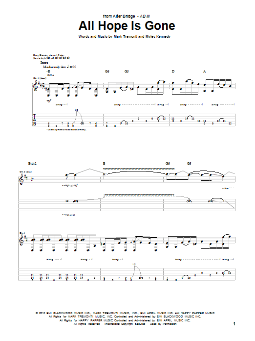 Tablature guitare All Hope Is Gone de Alter Bridge - Tablature Guitare