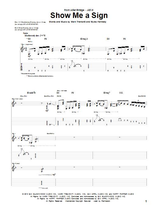 Tablature guitare Show Me A Sign de Alter Bridge - Tablature Guitare