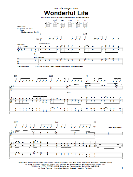 Tablature guitare Wonderful Life de Alter Bridge - Tablature Guitare