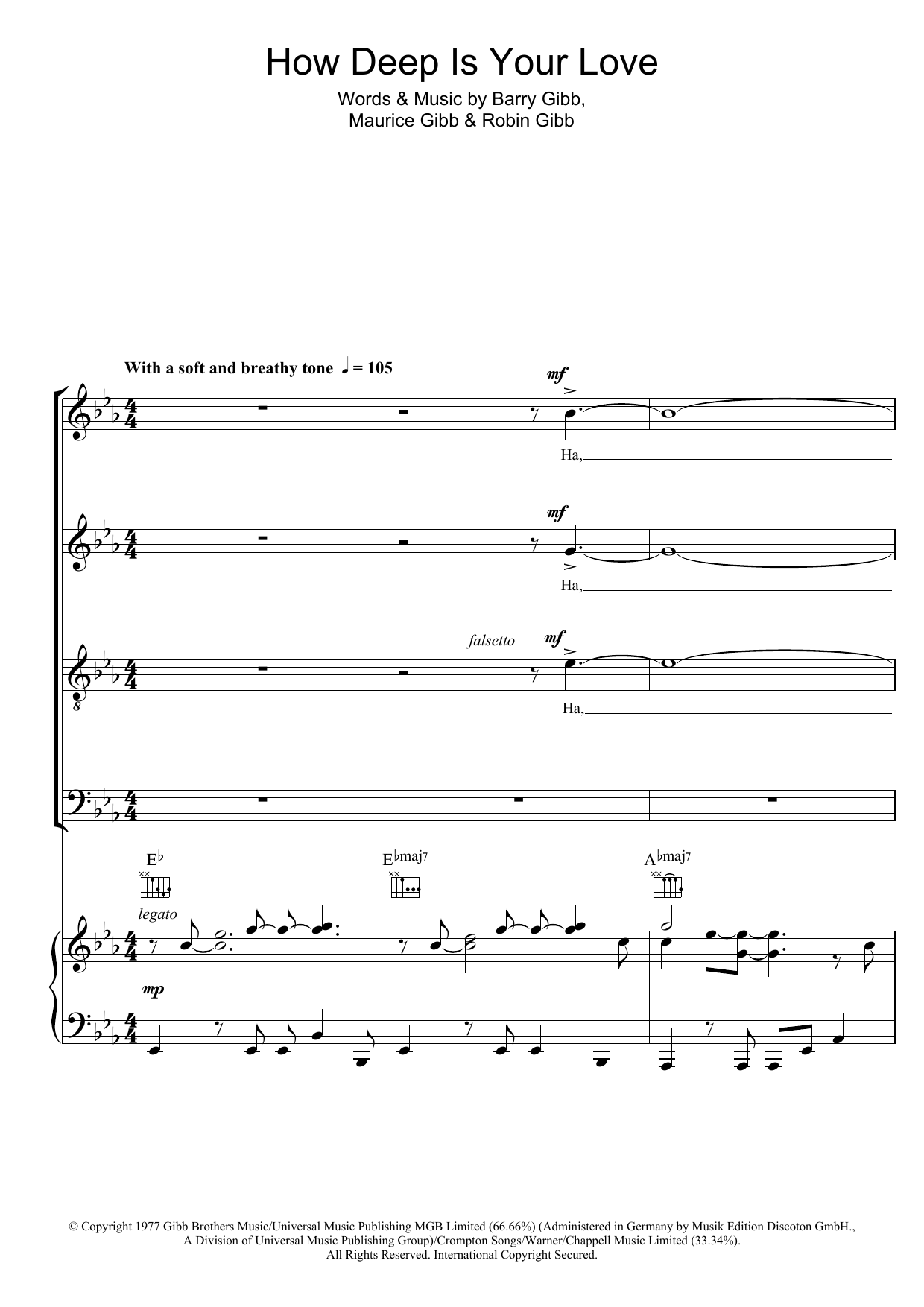 How Deep Is Your Love sheet music for choir and piano (SATB) by Robin Gibb