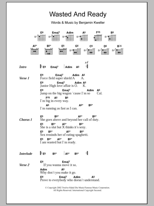 Wasted And Ready sheet music for guitar solo (chords, lyrics, melody) by Benjamin Kweller